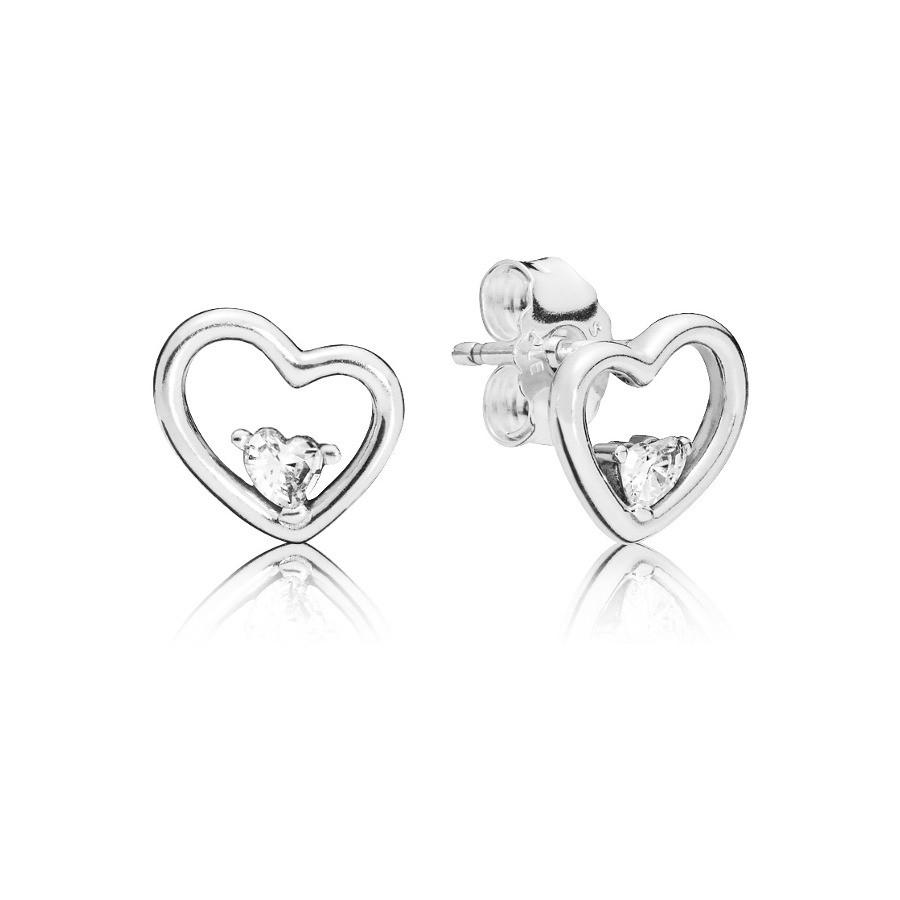 Pandora 925 Sterling Zilveren Asymmetrical Heart Oorstekers 297813CZ