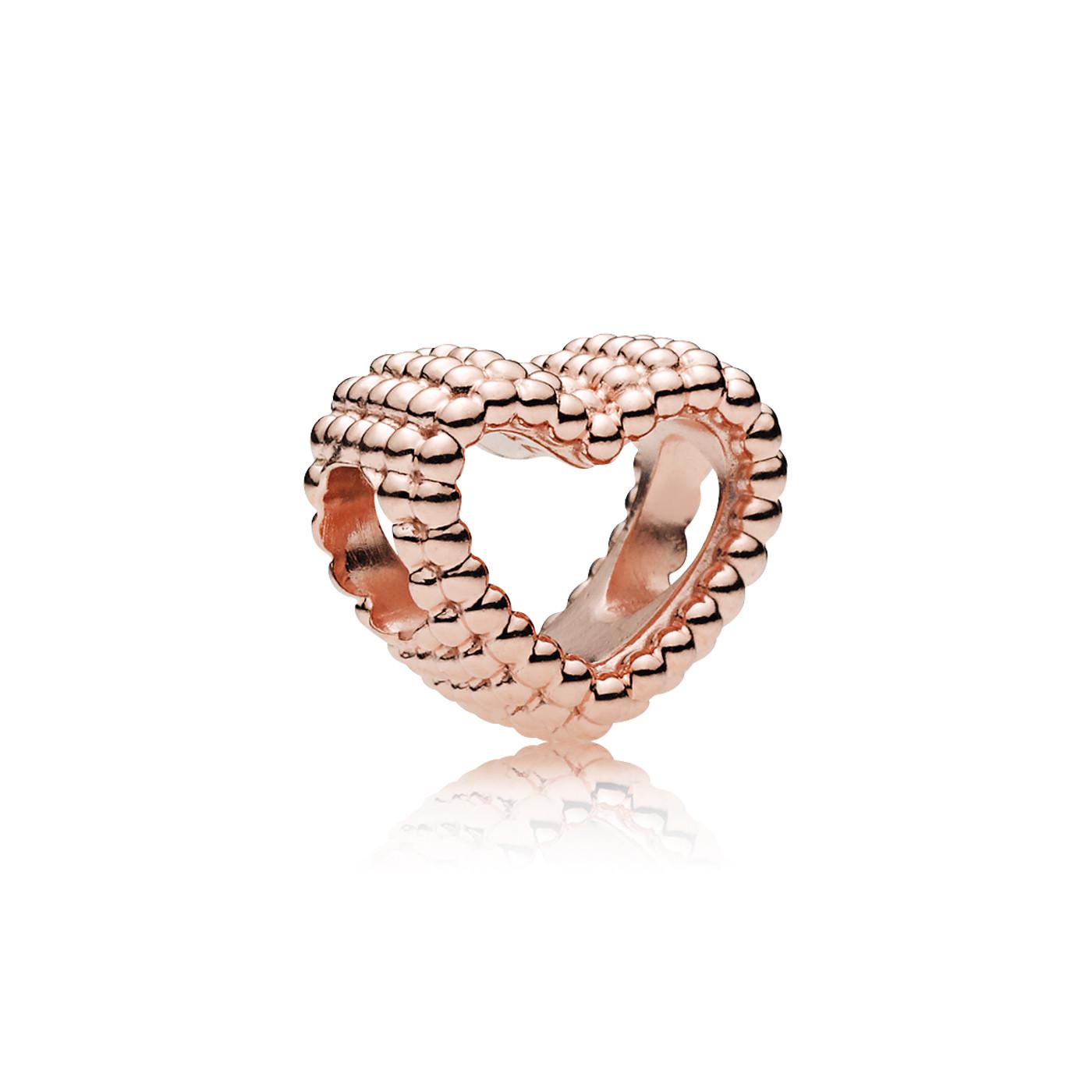 Pandora 925 Sterling Zilveren Beaded Heart Roségoudkleurige Bedel 787516