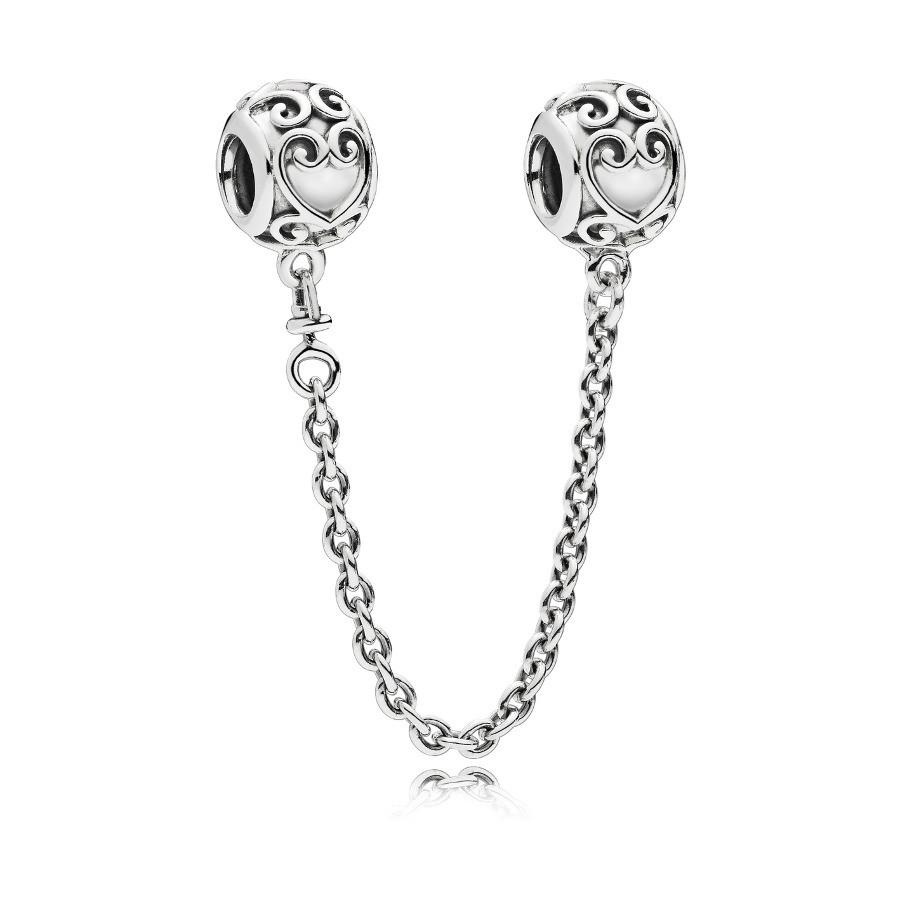 Pandora Moments Zilveren Enchanted Heart Veiligheidsketting Bedel 797036 (Lengte: 4.00-6.00 cm)