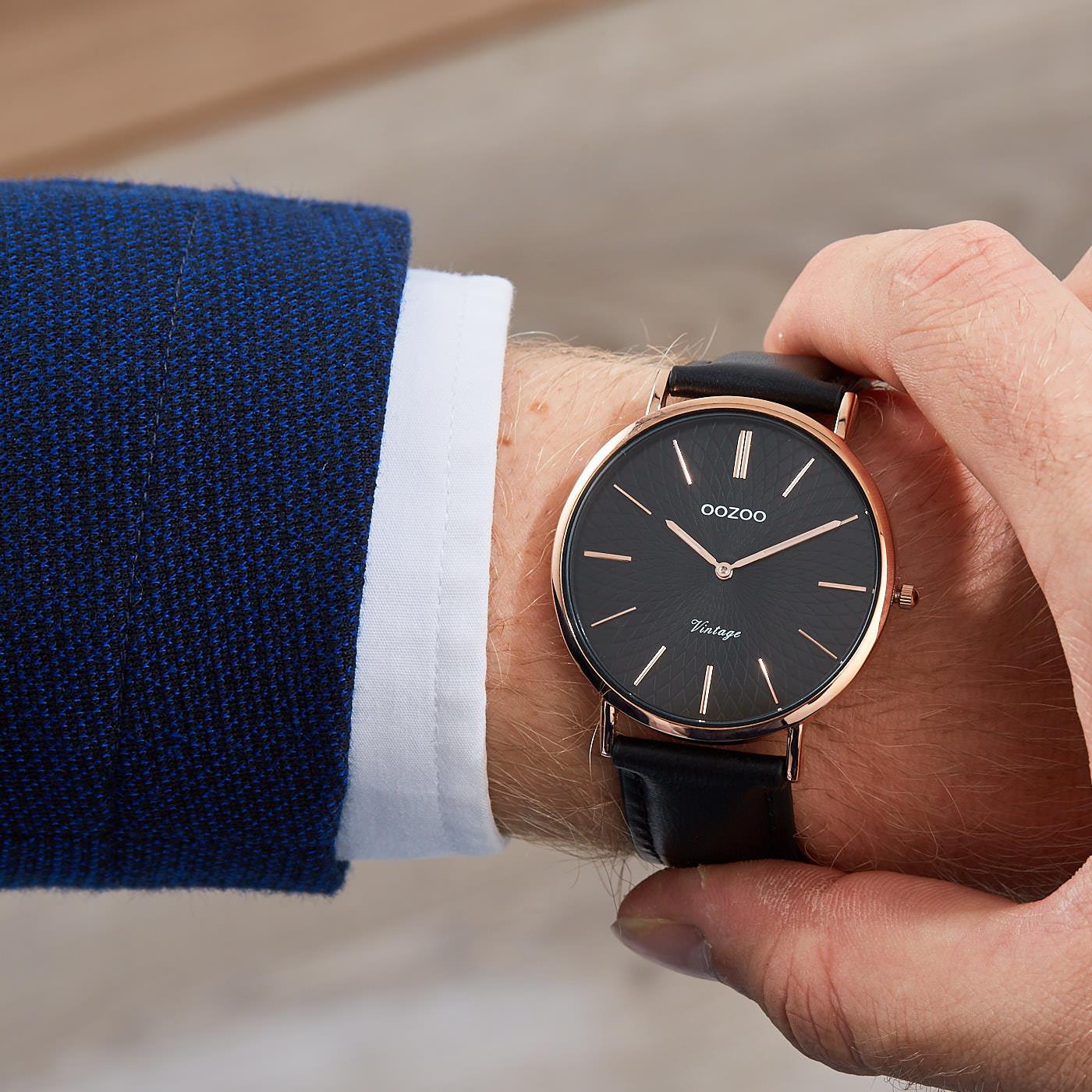OOZOO Vintage Zwart horloge C9339 (40 mm)