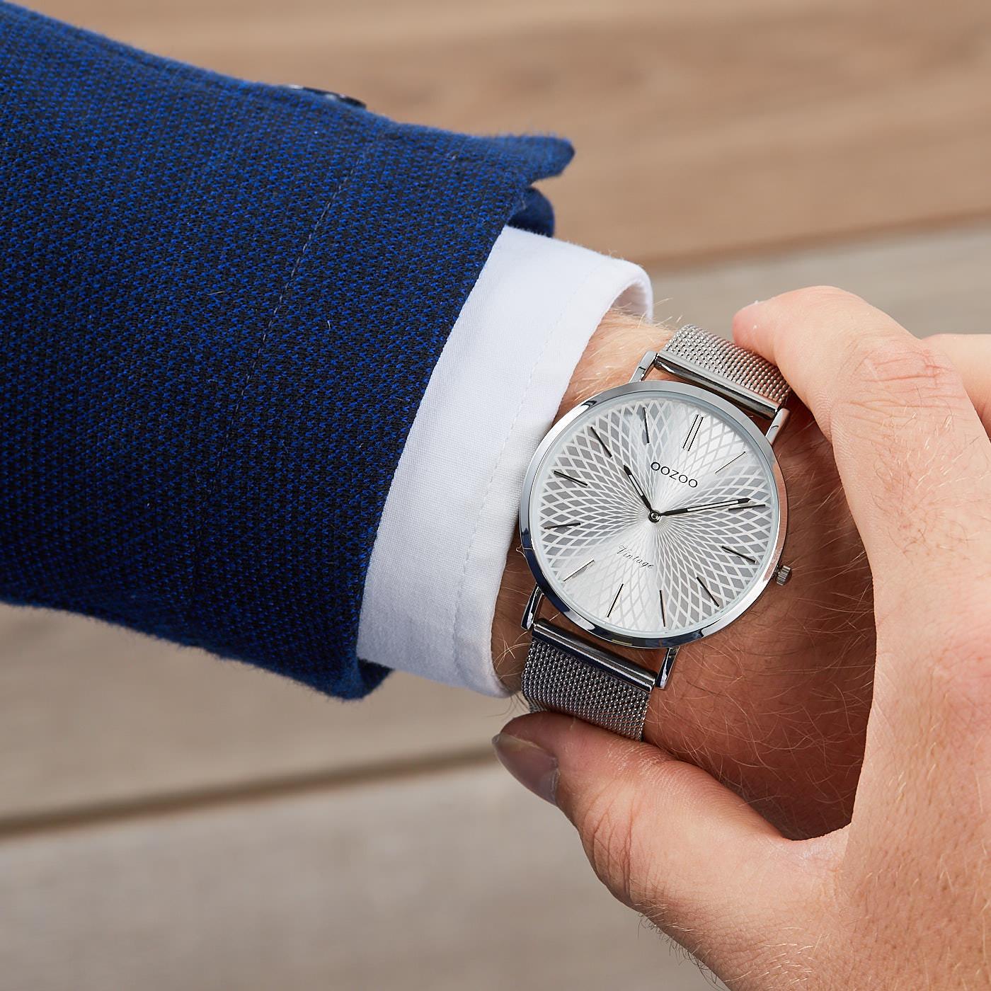 OOZOO Vintage Zilverkleurig horloge C9340 (40 mm)