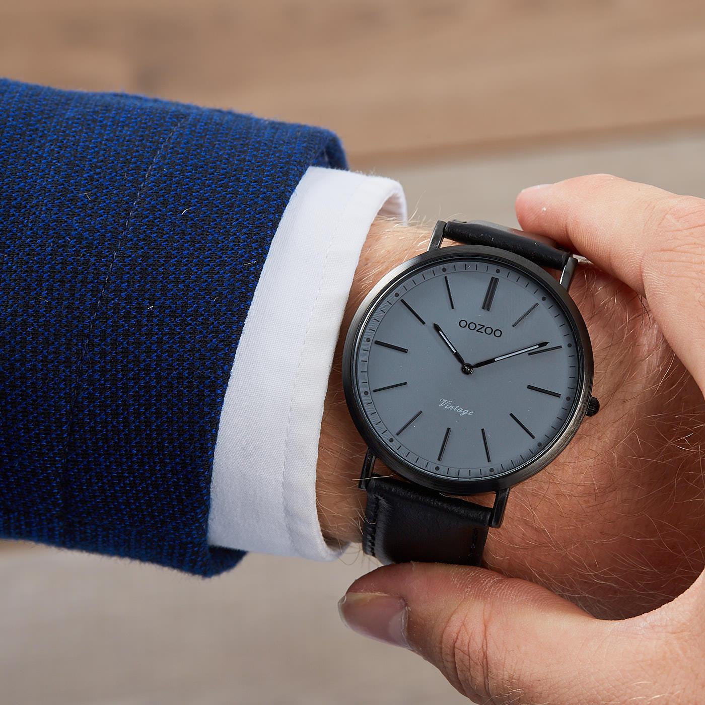 OOZOO Vintage Zwart/Donkergrijs horloge C9350 (44 mm)