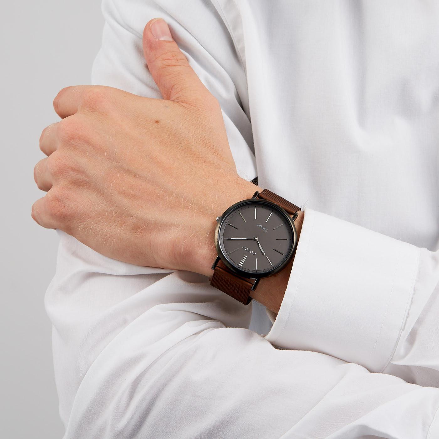 OOZOO Vintage Donkerbruin/Zwart horloge C9353 (44 mm)