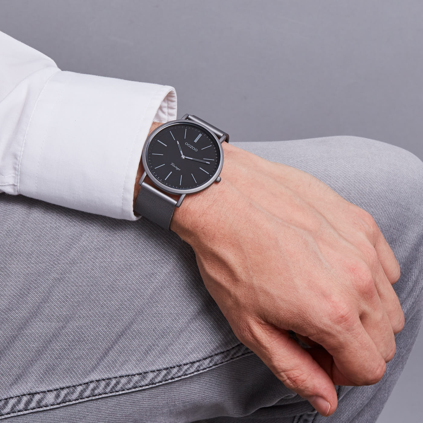 OOZOO Vintage Titanium/Zwart horloge C9359 (44 mm)