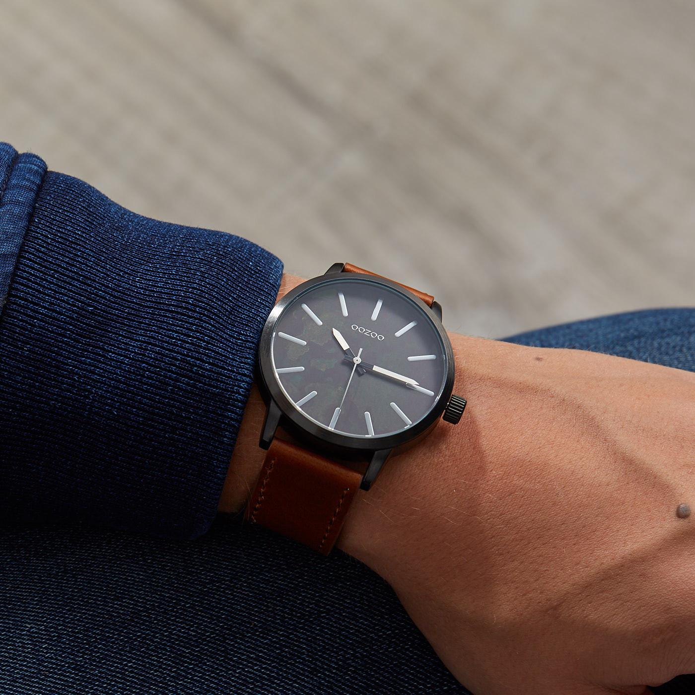 OOZOO Timepieces Bruin/Zwart horloge C9601 (45 mm)