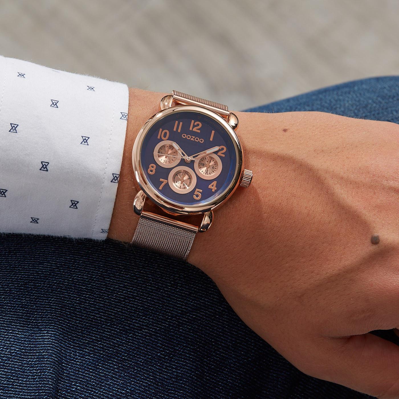 OOZOO Timepieces Rosegoudkleurig/Bruin horloge C9611 (42 mm)