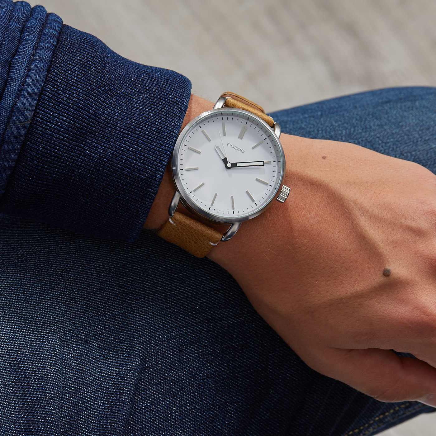 OOZOO Timepieces Camel/Wit horloge C9631 (48 mm)