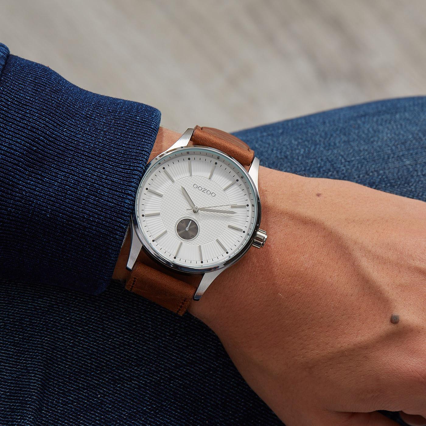 OOZOO Timepieces Bruin/Wit horloge C9635 (48 mm)
