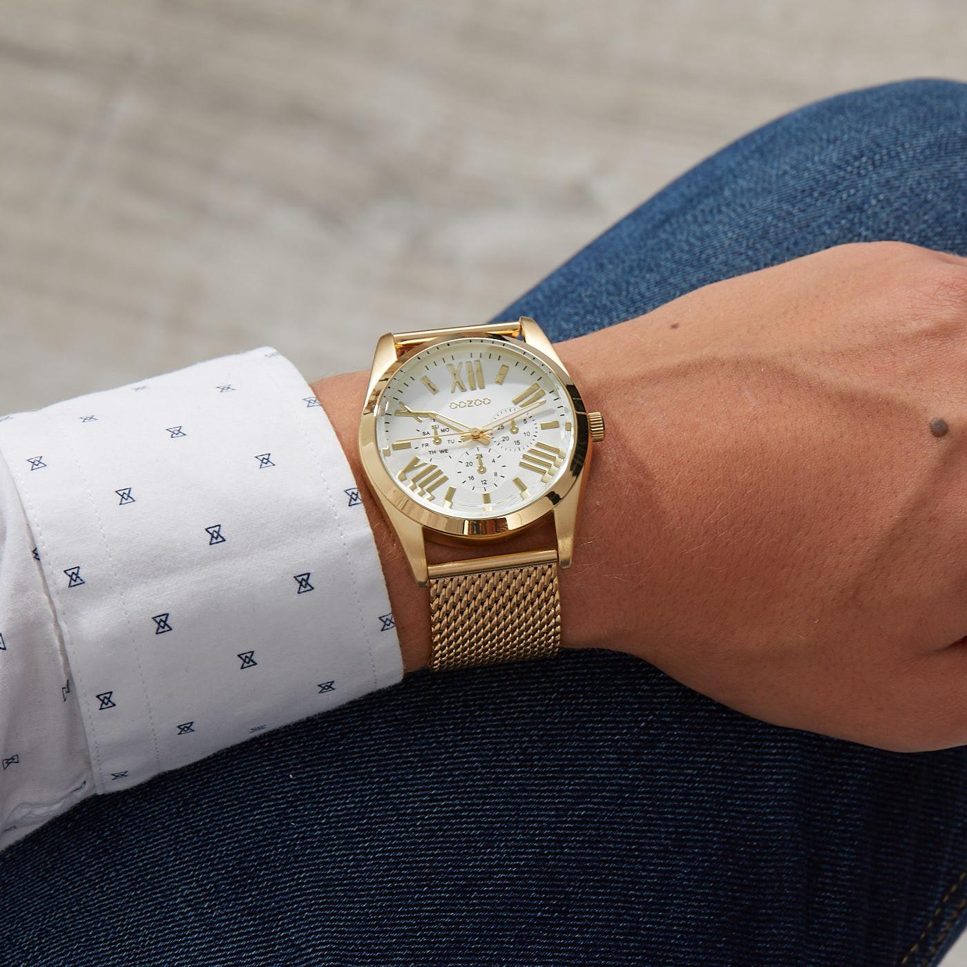 OOZOO Timepieces Goudkleurig/Wit horloge C9642 (44 mm)