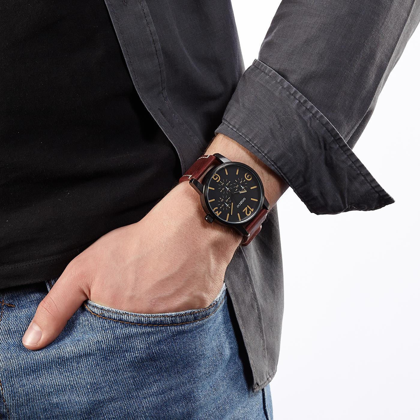 OOZOO Timepieces Bruin/Zwart horloge C9653 (45 mm)