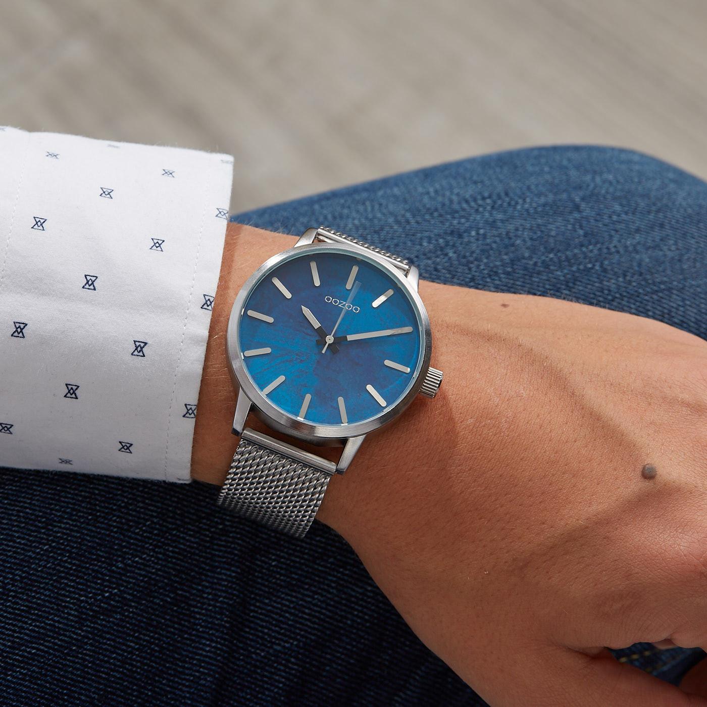 OOZOO Timepieces Zilverkleurig/Blauw horloge C9656 (45 mm)