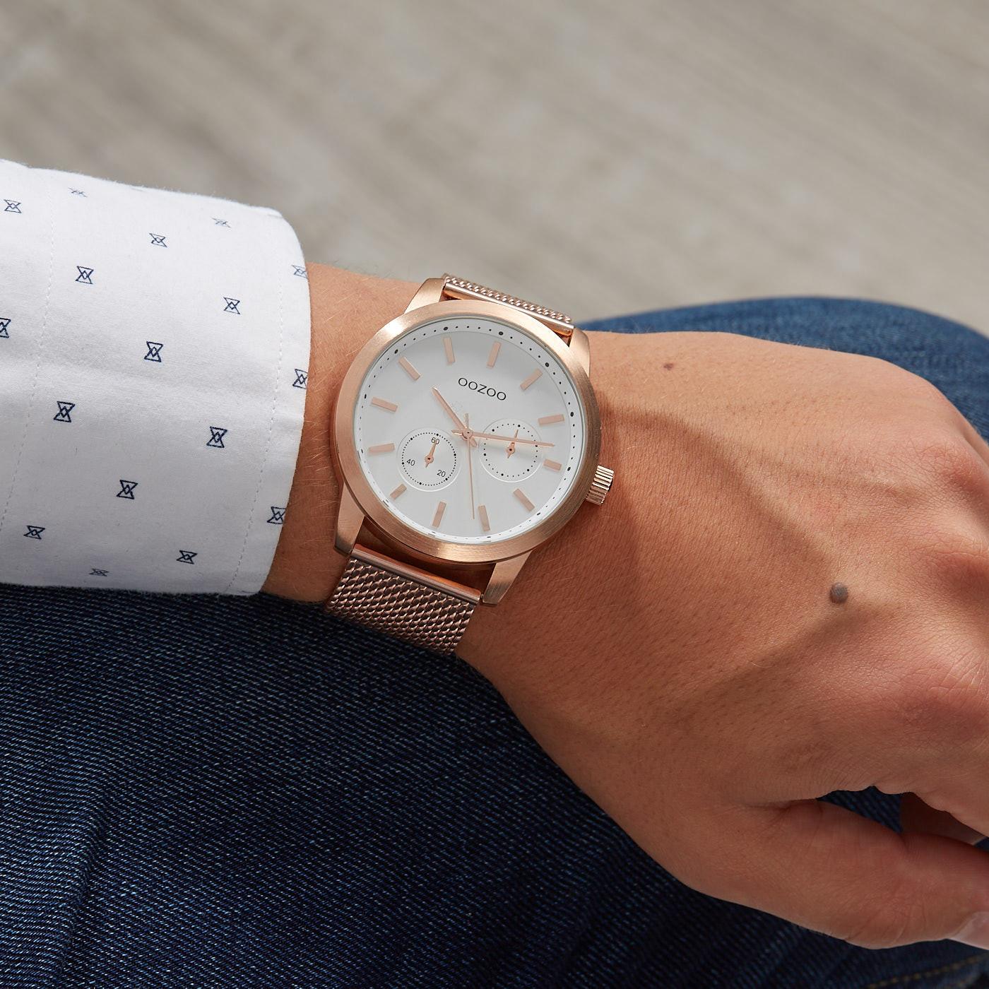 OOZOO Timepieces Rosegoukleurig/Wit horloge C9660 (47 mm)
