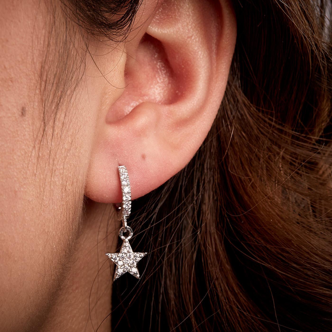Karma 925 Sterling Zilveren Hinge Hoops Star Oorknoppen M2671HW
