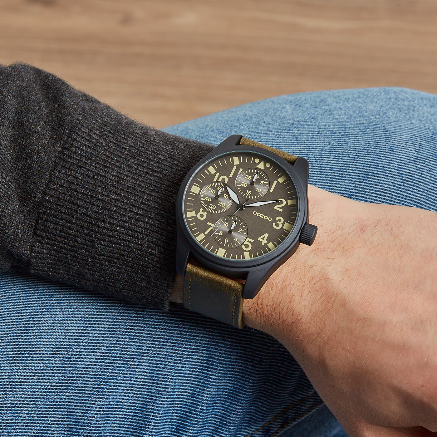 OOZOO Timepieces C6052 Donkergroen/Grijs (50MM)