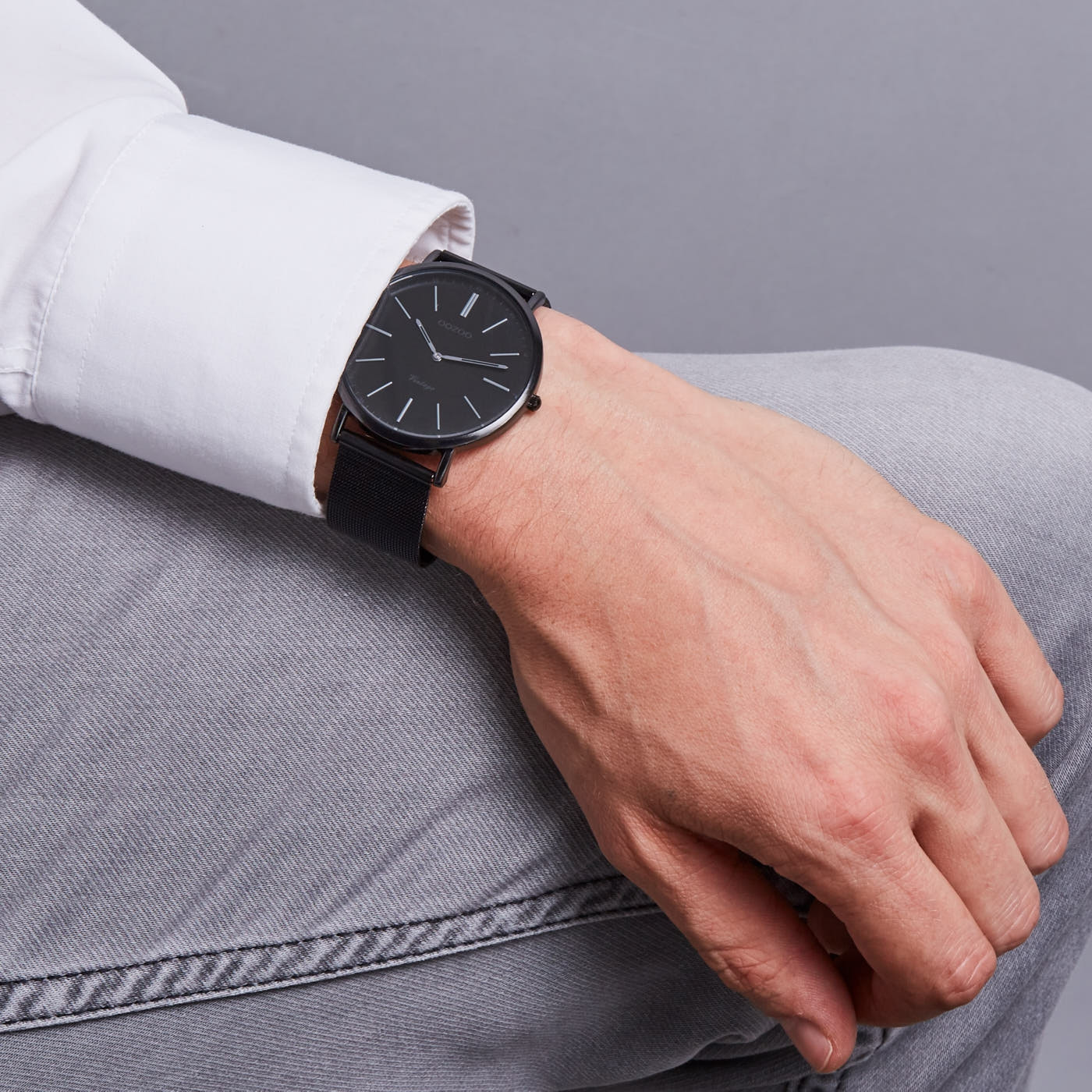 OOZOO Vintage horloge Zwart/Grijs C7384
