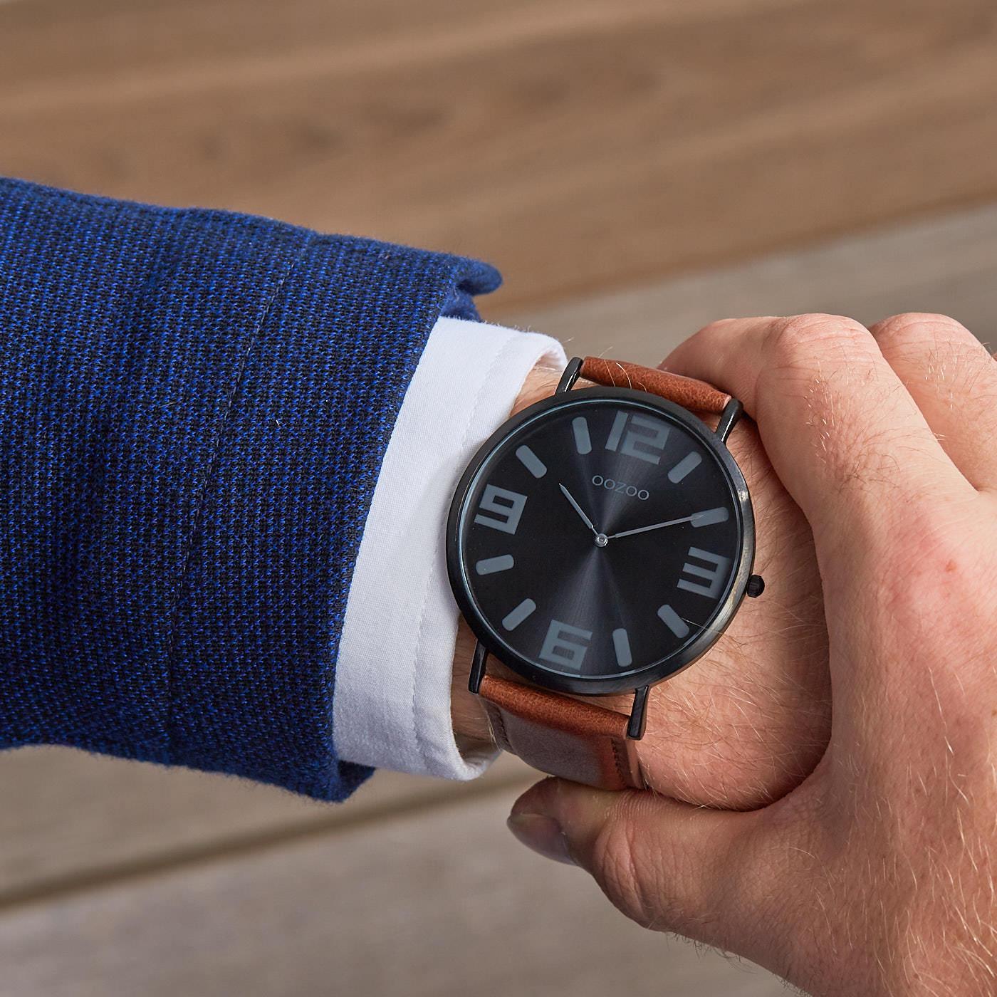 OOZOO Vintage Bruin/Zwart horloge C8856