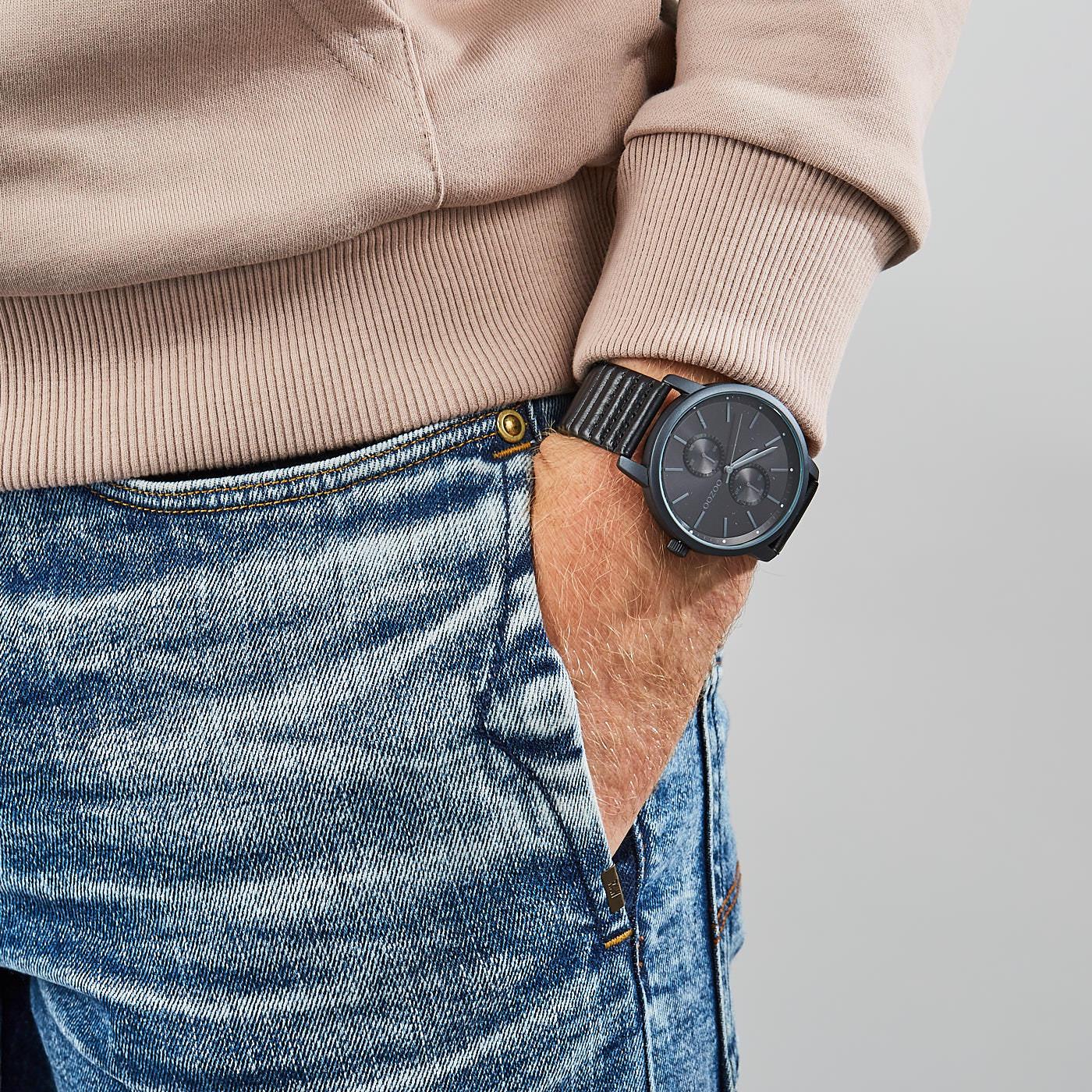 OOZOO Timepieces Zwart horloge C9454 (45 mm)