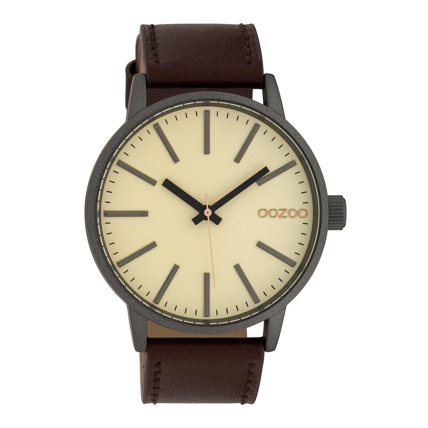 OOZOO Timepieces Cognac/Cream horloge C10010 (45 mm)