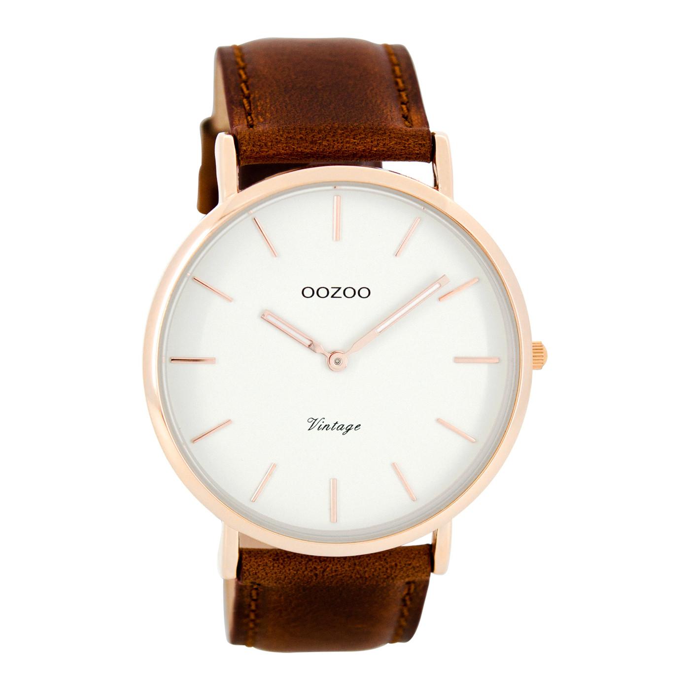 OOZOO Vintage horloge Bruin/Wit C7756 (44 mm)