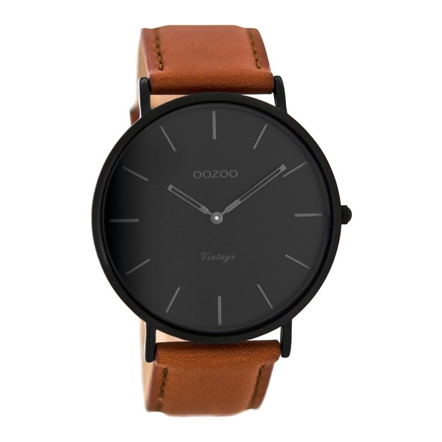 OOZOO Vintage Cognac/Zwart horloge C8126 (44 mm)