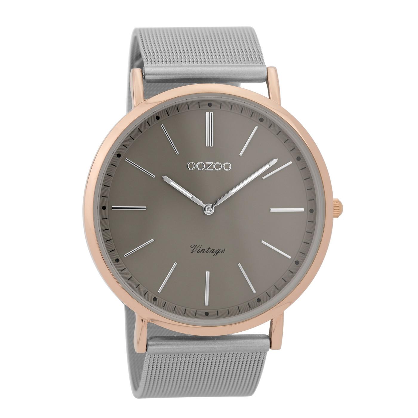 OOZOO Vintage Zilverkleurig/Donkergrijs horloge C9356 (44 mm)