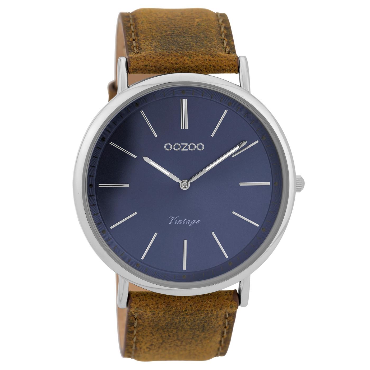 OOZOO Vintage Bruin/Blauw horloge C9358 (44 mm)