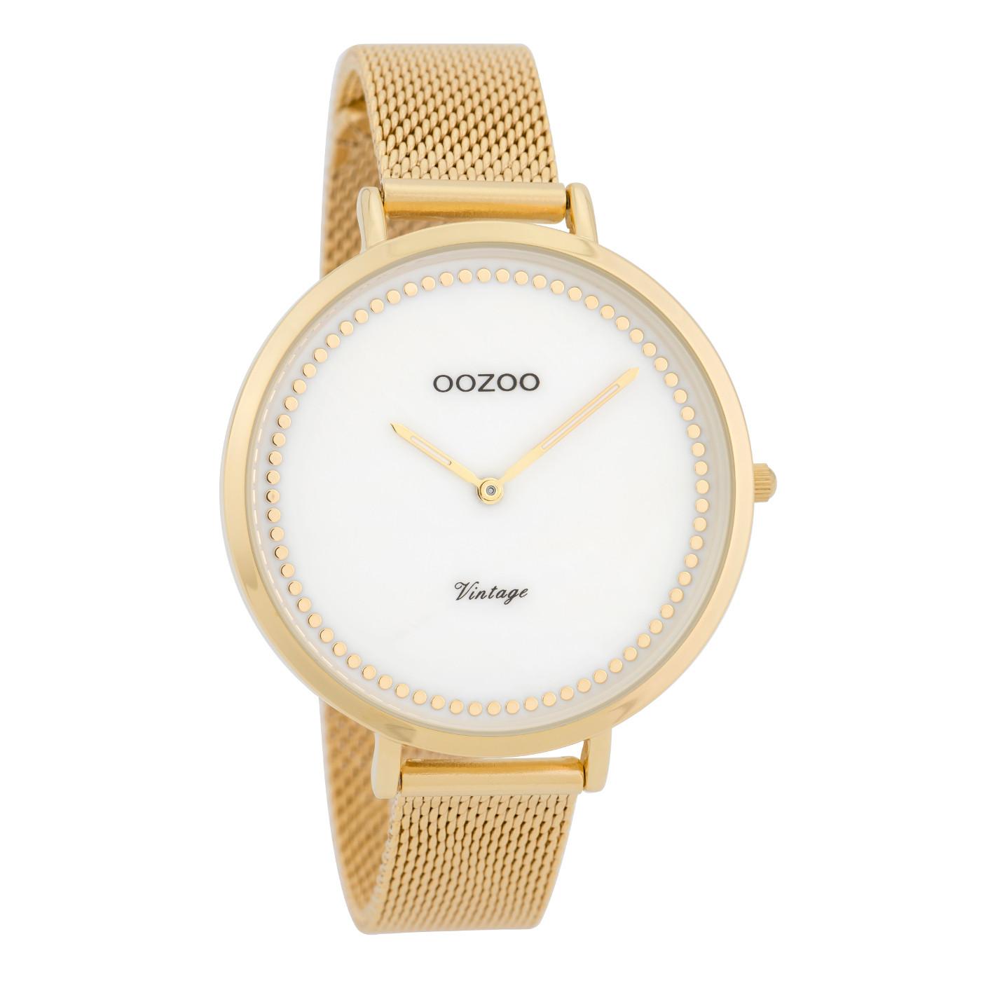 OOZOO Vintage Goudkleurig/Wit horloge C9857 (40 mm)