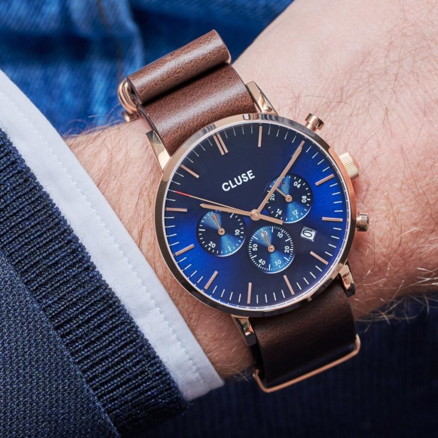 CLUSE Aravis Roségoudkleurig/Brown Chronograaf horloge CW0101502008