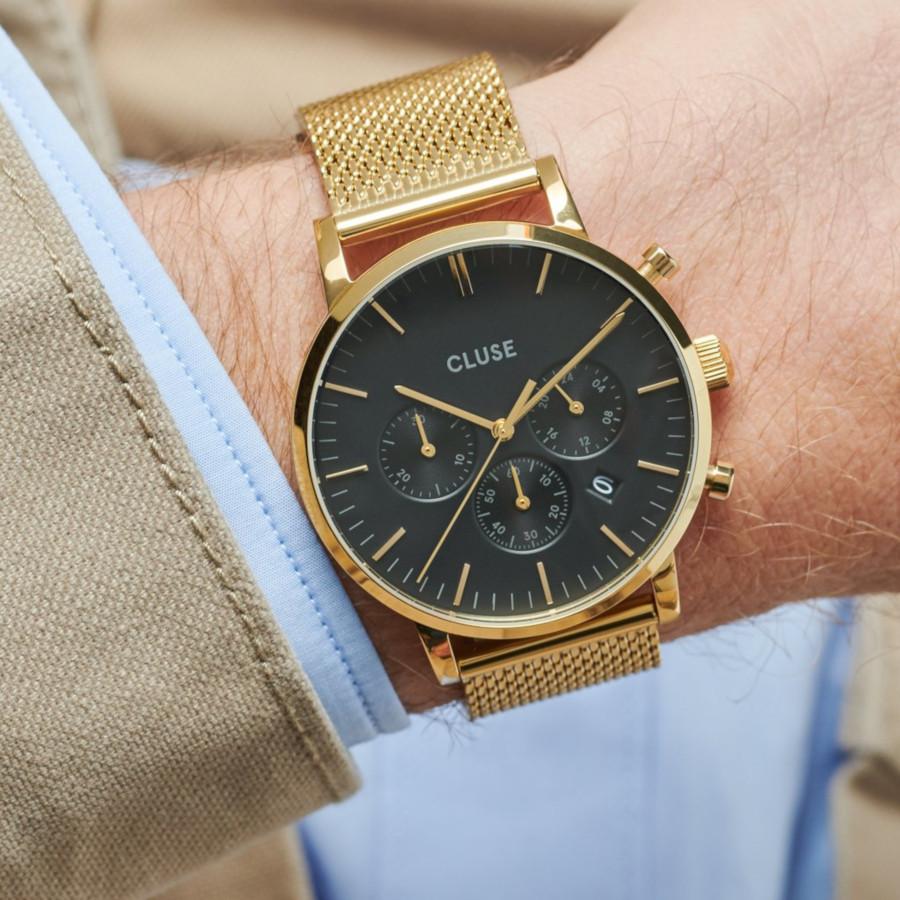 CLUSE Aravis Goudkleurig Chronograaf horloge CW0101502010