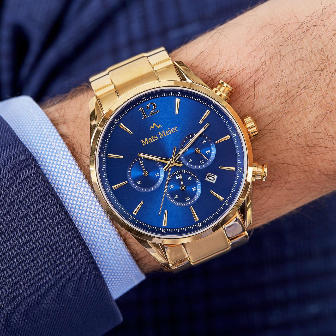 Mats Meier Grand Cornier Chronograaf Herenhorloge Goudkleurig met Horlogeband Giftset MM90007