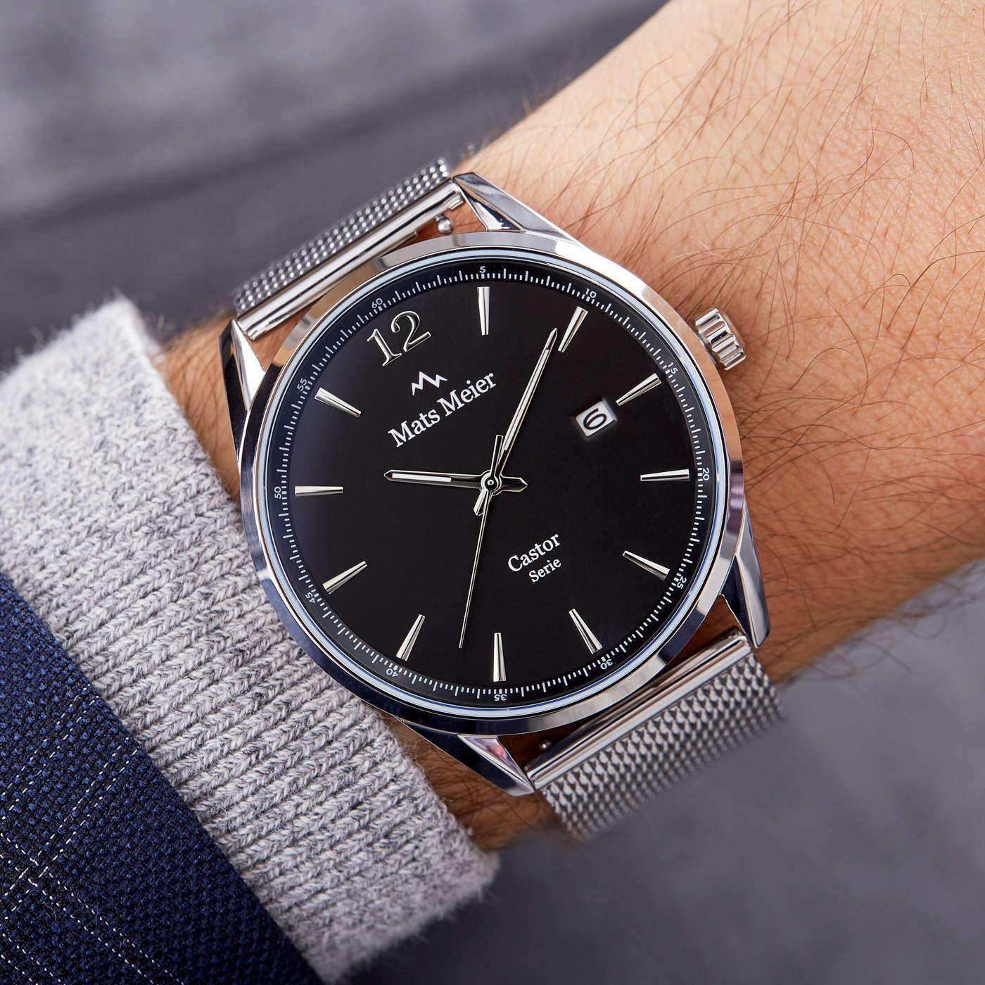 Mats Meier Castor Zwart/Zilverkleurig horloge MM01006