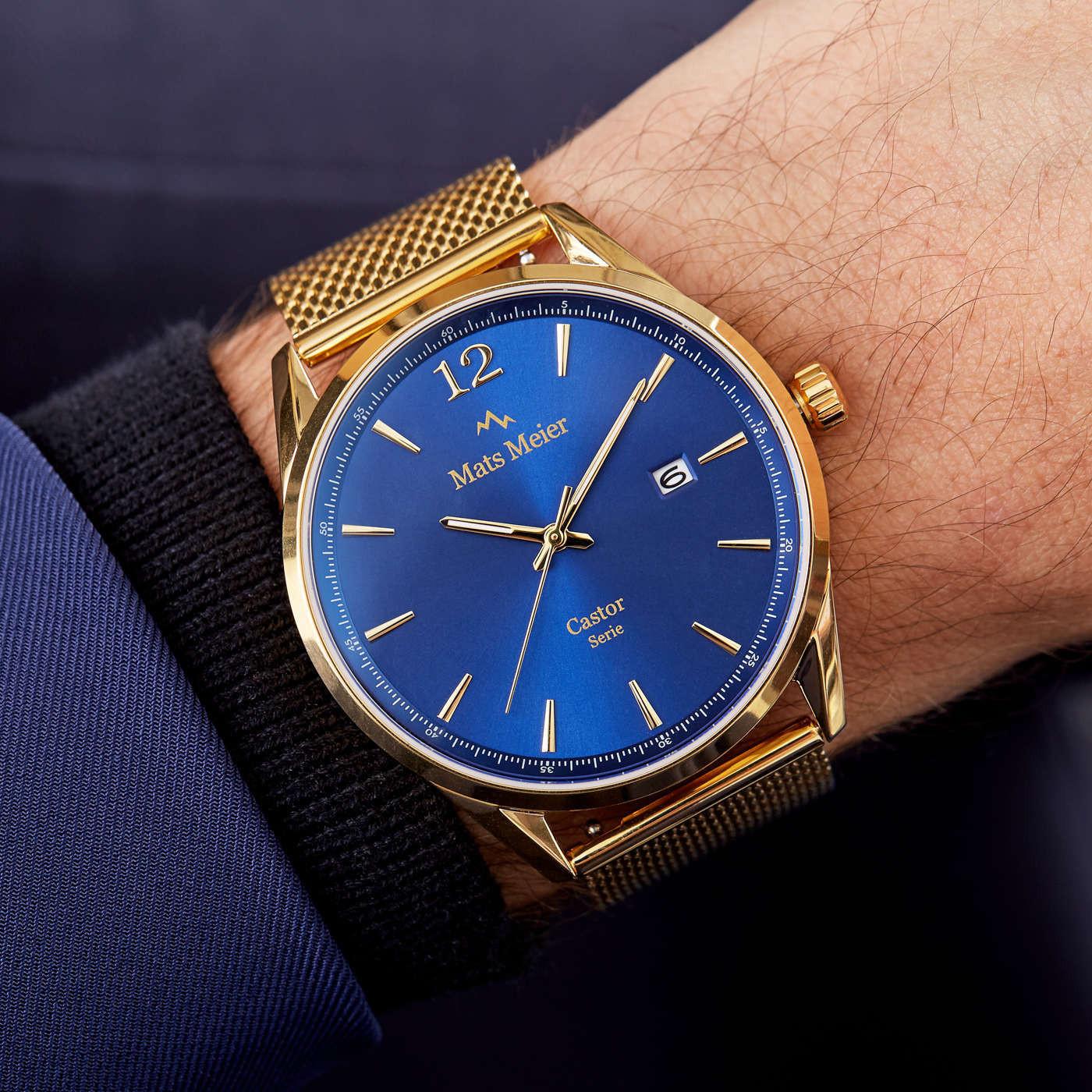 Mats Meier Castor Blauw/Goudkleurig horloge MM01010