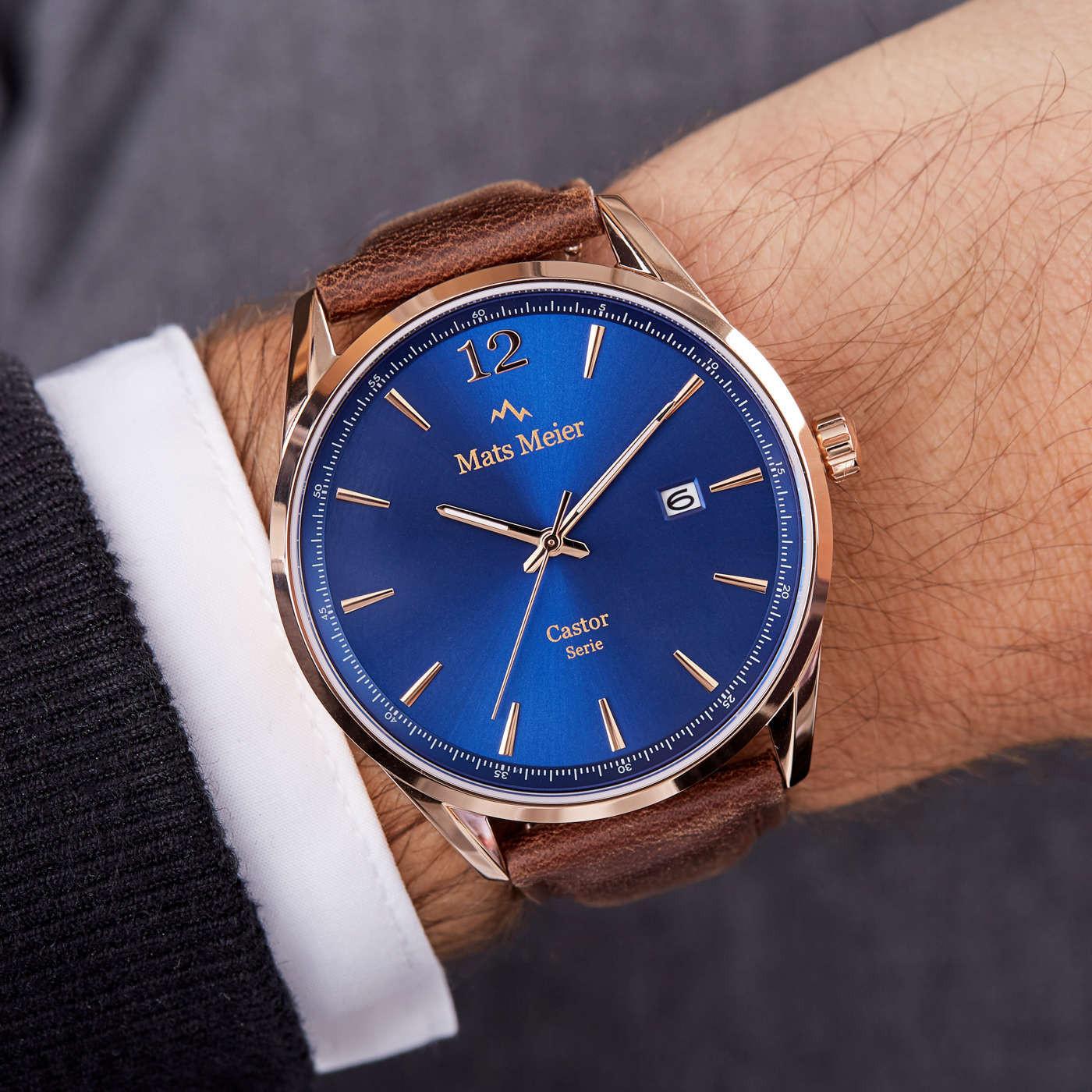 Mats Meier Castor Blauw/Rosegoudkleurig horloge MM01013