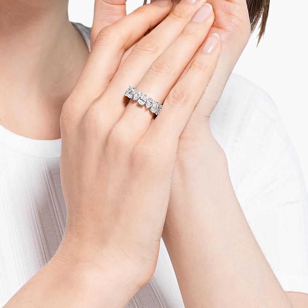 Swarovski Vittore Pear Zilverkleurige Ring met Zirkonia Steentjes