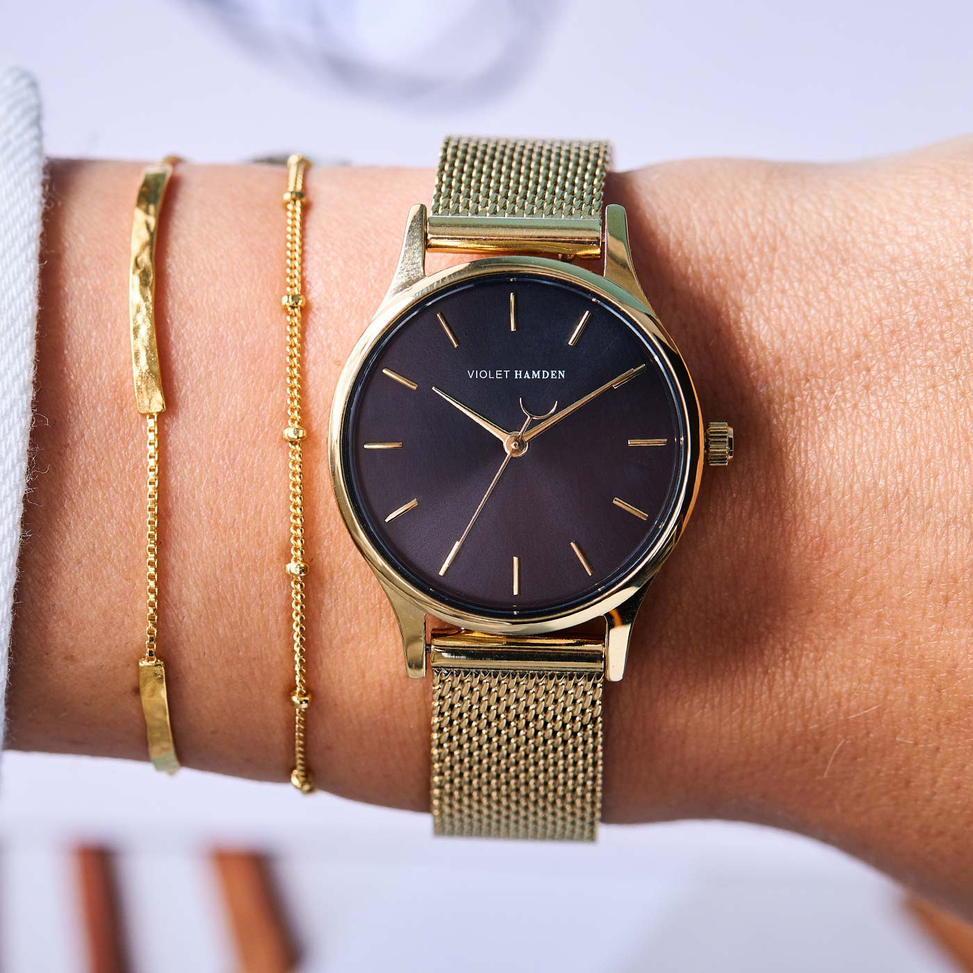 Violet Hamden Day & Night Gold Colored/Black horloge VH05017