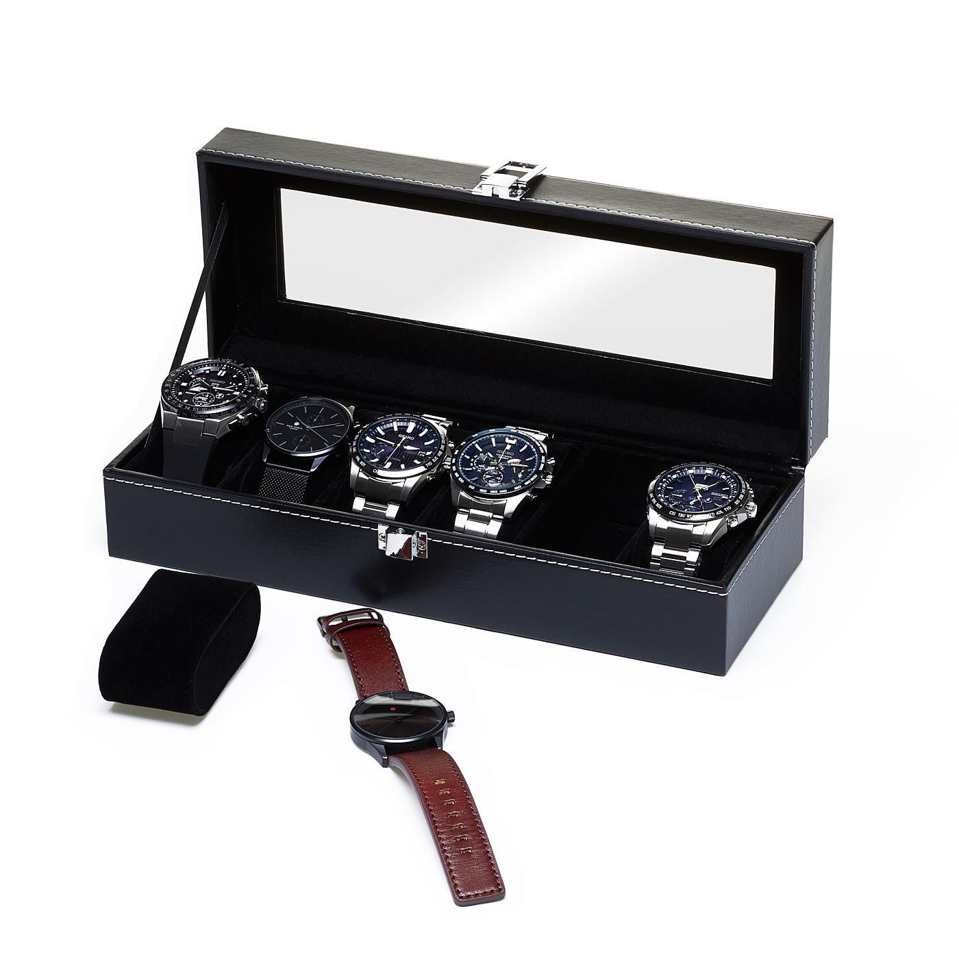 Horlogebox Zwart, geschikt voor 6 horloges.