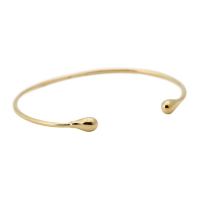 ANNA + NINA 925 Sterling Zilveren Essentials Drop Cuff Goudkleurige Bangle 18-2M905003GP