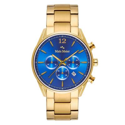 Mats Meier Grand Cornier Chrono Blauw/Goudkleurig horloge MM00111