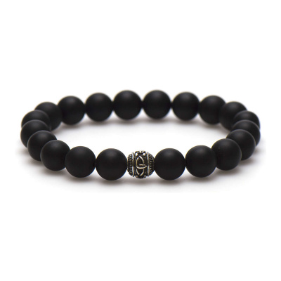 Karma Black is Black Silver Bead XL (10mm) Armband 96015 (Lengte: 21 cm)