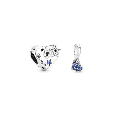 Pandora Thankful Heart & Stars Bedel en Stellar Pavé Tilted Heart Hanger Set