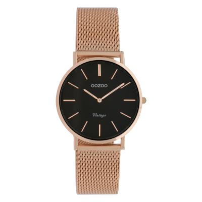 OOZOO Vintage Rosegoudkleurig/Zwart horloge C9927 (32 mm)