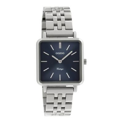 OOZOO Vintage Zilverkleurig/Blauw horloge C9951 (29 mm)