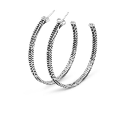 Buddha to Buddha Heritage 925 Sterling Zilveren Chain Hoop Oorbellen BTB445one