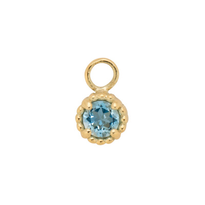 ANNA + NINA 14 Karaat Gouden Solid Gold Birthstone March Single Oorbedel 19-3M904003G
