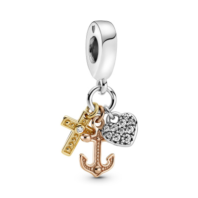 Pandora Passions Triple Tone Cross, Heart and Anchor Bedel 799354C01