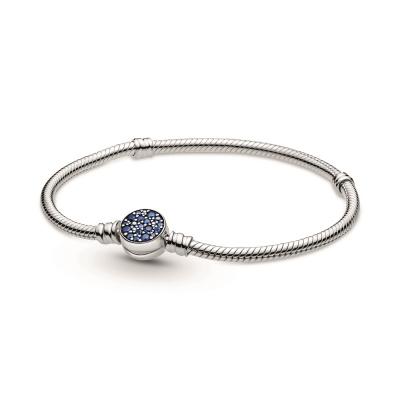 Pandora Colours 925 Sterling Zilveren Blue Disc Clasp Snake Chain Bracelet 599288C01