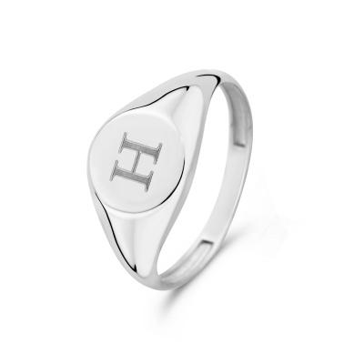 Isabel Bernard Saint Germain Lauren 14 Karaat Witgouden Initial Ring IB330035H (Letter: H)