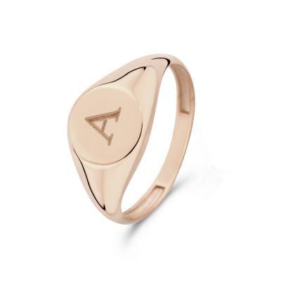 Isabel Bernard La Concorde Lauren 14 Karaat Rosé Gouden Initial Ring IB330036A (Letter: A)