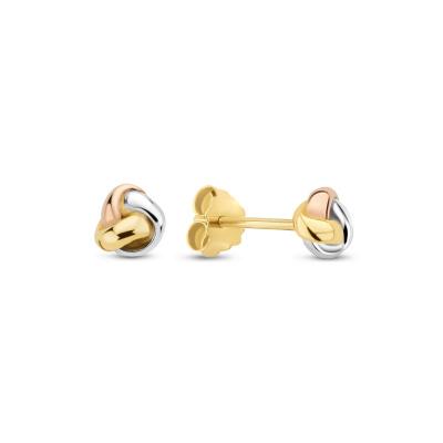 Isabel Bernard Tricolore Maeva 14 Karaat Gouden Oorknoppen Met Drie Kleuren Goud IB360098