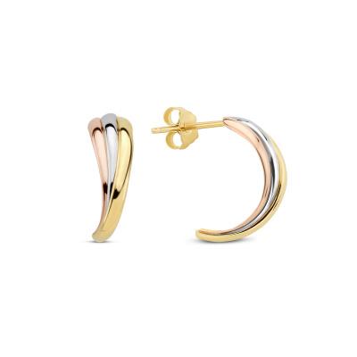 Isabel Bernard Tricolore Maeva 14 Karaat Gouden Oorknoppen Met Drie Kleuren Goud IB360097